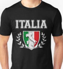 ITALIA - Classic Itlay Flag Crest (Vintage Distressed Design) Unisex T-Shirt