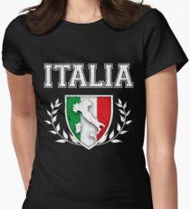 Camiseta entallada ITALIA - Cresta clásica de la bandera de Itlay (diseño envejecido apenado)