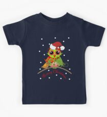 Cute Owl with Santa Hat Xmas Tee Kids Clothes