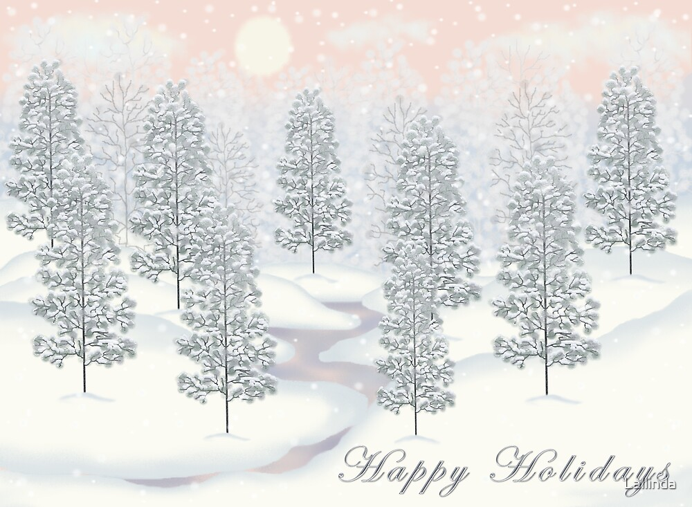 Snowy Day Winter Scene - Happy Holidays Christmas Card by Lallinda