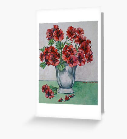 Red pelargoniums 2012Ⓒ Oil on canvas Greeting Card