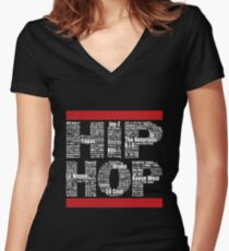 Hip Hop in Black Women's Fitted V-Neck T-Shirt