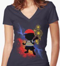 Super Smash Bros. Ness Silhouette Women's Fitted V-Neck T-Shirt