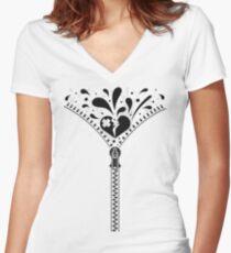 Zipper_Heart Women's Fitted V-Neck T-Shirt