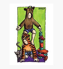 KMAY Hoodkid Bull Balancing on Tiger Photographic Print