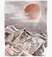 Blood Moon Eclipse and Mountain Landscape Poster