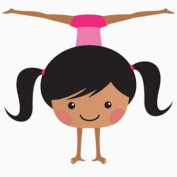 Gymnast girl doing handstand and side splits - african american by MheaDesign