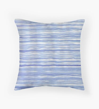 Blue Watercolor Hand Drawn Stripes Modern Abstract Pattern Throw Pillow