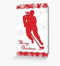 Hockey Christmas Card Red Snowflake Border - Female Greeting Card