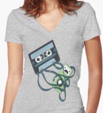 Cassettes Revenge shirt Women's Fitted V-Neck T-Shirt