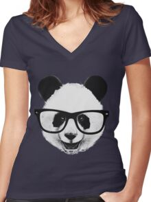 Hipster Panda Women's Fitted V-Neck T-Shirt
