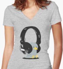 Music Bird Women's Fitted V-Neck T-Shirt