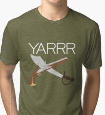 """YARRR"" Flintlock and Steel Tri-blend T-Shirt"