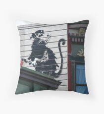 San Francisco - Banksy rat on a roof Throw Pillow