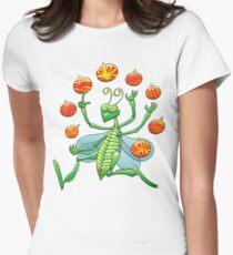Green Grasshopper Juggling Christmas Balls Women's Fitted T-Shirt