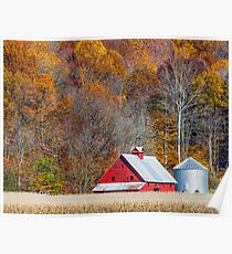 Autumn Red Barn and Hillside Poster