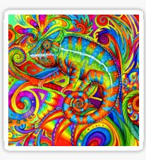 Psychedelizard Psychedelic Chameleon Colorful Rainbow Lizard Sticker