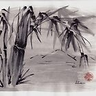 Peaceful Place - Sumie Ink Wash Watercolor Painting by Rebecca Rees