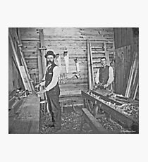 Cabinet Cards: 2 Finish Carpenters On Site c1880 Photographic Print