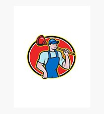 Plumber Holding Plunger Cartoon Photographic Print