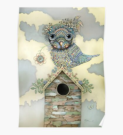 Blue Owl Birdhouse II Poster