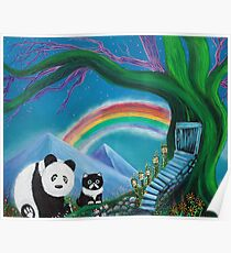 The Panda The Cat and The Rainbow Poster