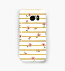 Floral and Gold Stripe Phone Case and Tablet Case Samsung Galaxy Case/Skin