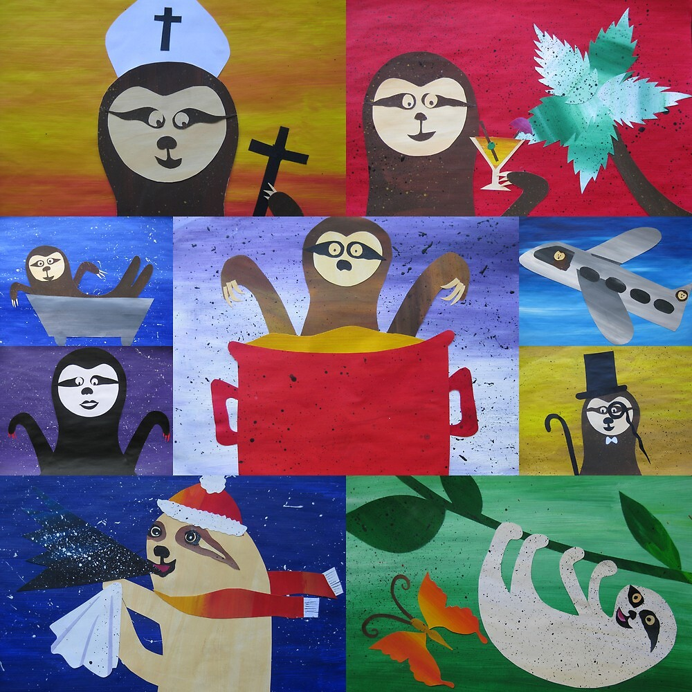 Sloth collage made from recycled math book drafts by cathyjacobs