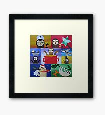 Sloth collage made from recycled math book drafts Framed Print