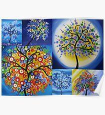 bright happy hippy trees Poster