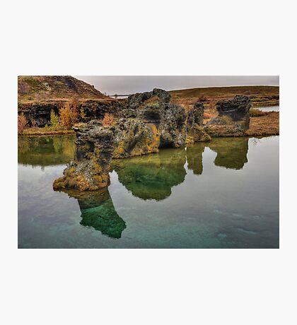 Rocks, Lake Myvatn Photographic Print