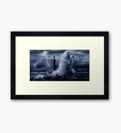 Light House Storm Framed Print