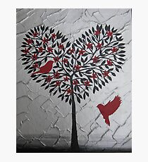 Romantic design of birds and a heart tree Photographic Print
