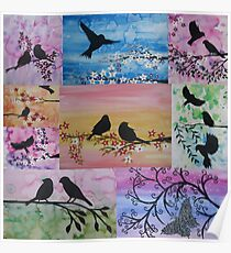 watercolor and acrylic collage - birds and blossoms Poster