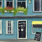 Blue Honey Bee cafe acrylic painting by Melissa Renee