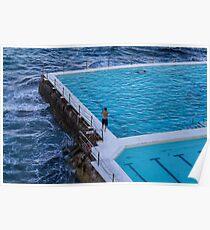 Swimming at the icebergs pool Bondi Beach Poster
