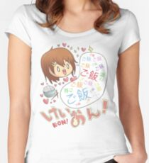 K-ON!: Yui Loves Rice Women's Fitted Scoop T-Shirt