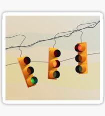 Traffic lights and sunset illustration Sticker