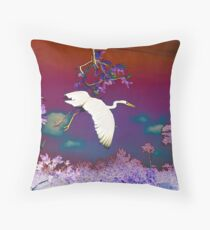 Flying Crane Throw Pillow