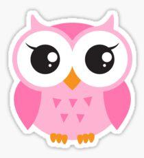 Cute, pink baby owl sticker Sticker