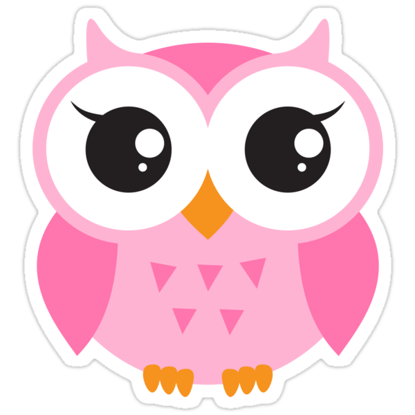 Cute pink baby owl sticker stickers by mheadesign - Stickers muraux repositionnables bebe ...