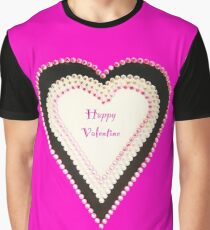 Happy Valentine Pink Beaded Heart  Graphic T-Shirt