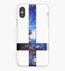 Blue Galaxy Inverted Cross White iPhone Case