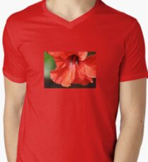 Red Petal and Anther with Pistil of Hibiscus Flower Men's V-Neck T-Shirt