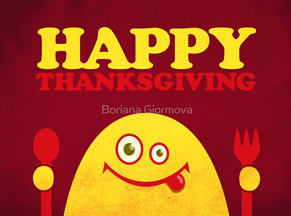 Hungry Cartoon Character Funny Thanksgiving by Boriana Giormova