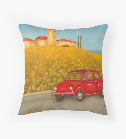 Vintage Red Fiat 500  Throw Pillow