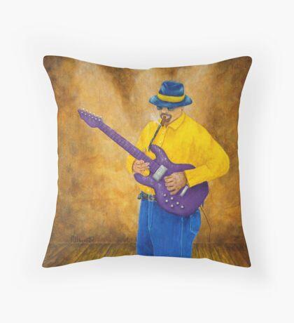 Blues Guitar Man Throw Pillow