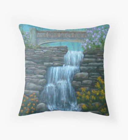 New England Waterfall in Summer Throw Pillow