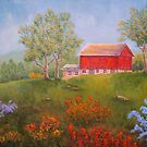 New England Red Barn in Summer by Allegretto