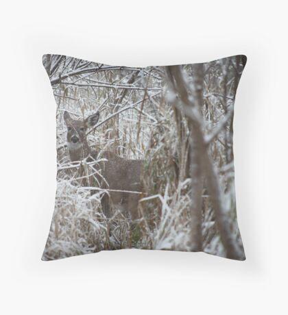 First Snow Doe Throw Pillow